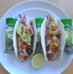 Fish tacos at home: colour and crunch. Need a taco stand, though.