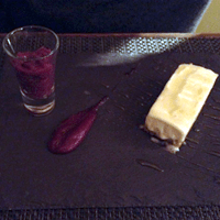 Lanarkshire blue cheesecake and spiced poached pear.