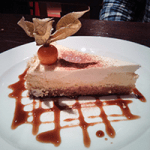Baked orange cheesecake with coffee syrup. Yes, please!