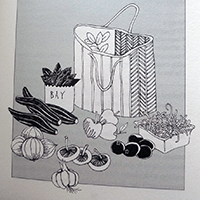 The illustration for the Veggie Delights section