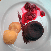 Chocolate fondant with beetroot granita and carrot ice cream at Edinburgh Larder. Carrot ice cream!