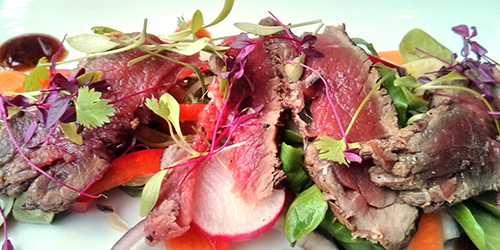 Asian beef and fennel salad with radishes and micro greens at The Magnum, Edinburgh.