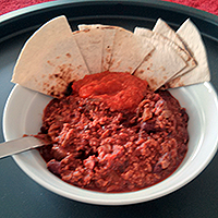 Chilli with toasted tortilla triangles and a good dollop of The Hot Chilli Republic salsa.