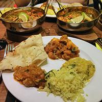 Loading up my plate with gosht and shatkora, naan, rice and dahl, at Vinyasa, Edinburgh.