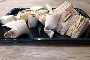 Sandwiches and wraps, freshly made and ready to eat. Lovely!