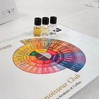 The Nespresso sensory wheel helped us name some of the flavours and scents we came across.