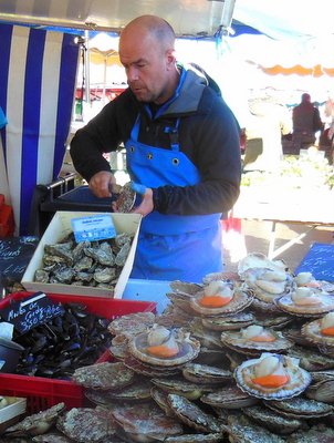 Scallops at Caen Market