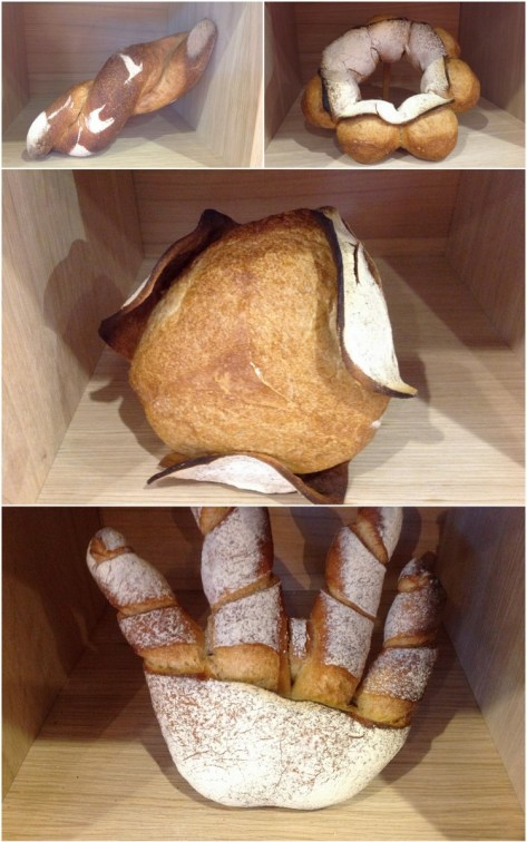 Breads from different areas within France. Top left: Pain Tordu, Top Right Pain Bourdalaise, Bottom Pain de Nice or Picasso's Hand
