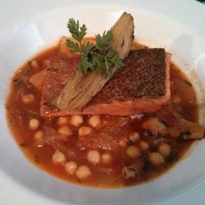 Sea trout with saffron braised squid, fennel and chickpeas. I want that again.