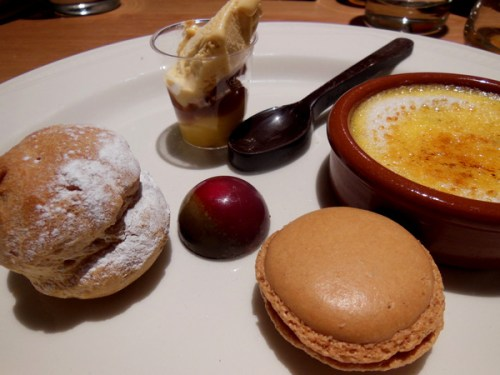 Salted macarons, dark chocolate fizzy praline, fudge creme brulee, caramelised pear tarte tatin