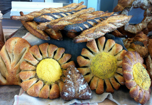 Just some of the breads we made. I particularly like the sunflowers or marguerites. The yellow stuff is maize.