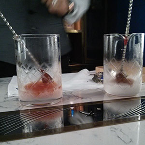 The mixing has started. Mine's to the left, Christopher's to the right. Grey Goose.
