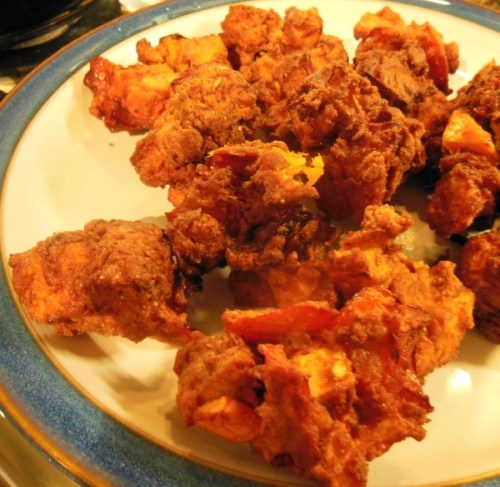The pakora I made with red peppers and sweet potato