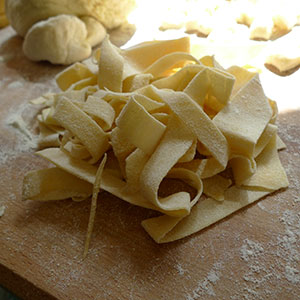 The papardelle Caroline cut - not as even as the one Rosario cut.