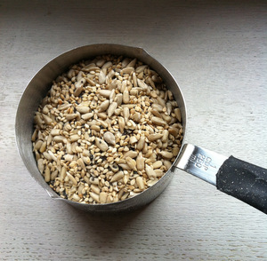 Measuring out the seeds for my muesli recipe