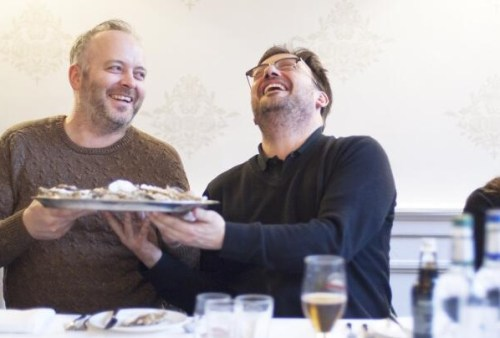 Fred Berkmillar enjoying a joke with Craig Sandle of Galvin's Pomadour Restaurant