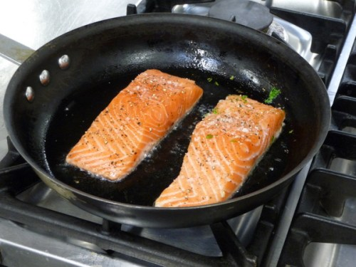 Gently cooking the salmon
