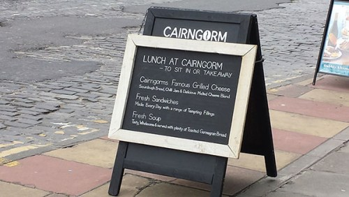 Today's lunch menu at Cairgorm Coffee