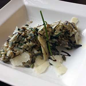Mushroom, spinach and sage barley risotto.
