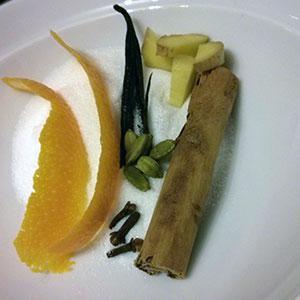 Preparing the spices for white glögg.