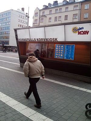 My local korvkiosk. A one-man lunch station offering all things sausage and burger.