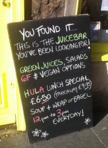 Hula Juice bar menu board
