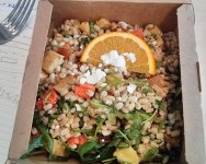 Spelt, goats cheese, butternut squash and orange salad from Soderberg.