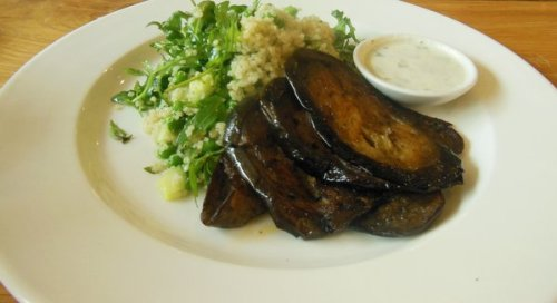 Aubergine with quinoa salad