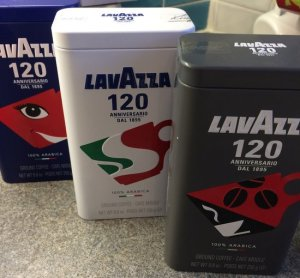 Reflecting three different eras of Lavazza's history, limited edition coffee tins