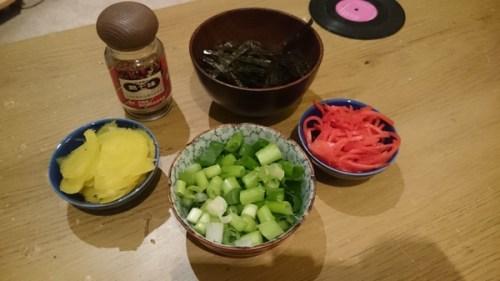 Pickles, ginger, seaweed, spring onion, seasoning