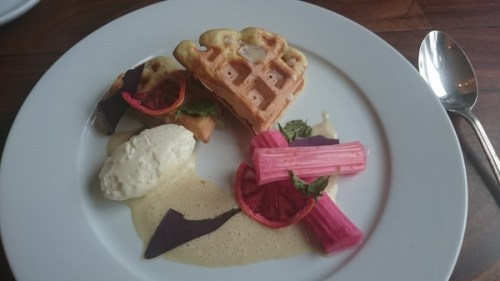 Sultana waffle, rhubarb, buttermilk ice cream, oat sauce, orange crisps