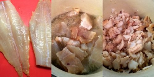 Preparing the haddock fillets