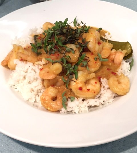 Simply delicious Panaeng style curry with prawns