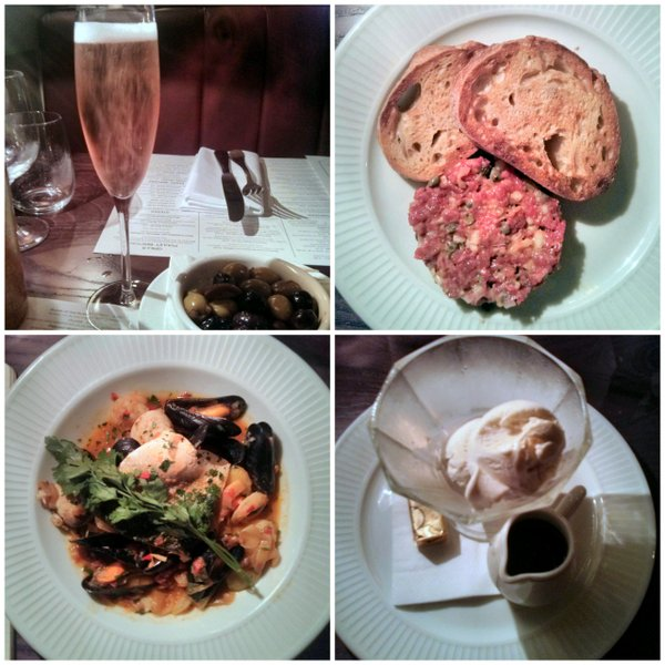 Kir Royal for the first arrival; steak tartare; Breton fish stew; ice cream coupe. Simple, well-presented and perfectly cooked.