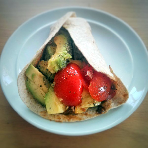 Avocado wrap spiced up with Clearspring chilli umami paste.
