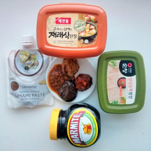 Four ways to get umami into your dishes: Clearspring umami paste, doenjang, sumchang ssamjang, marmite.