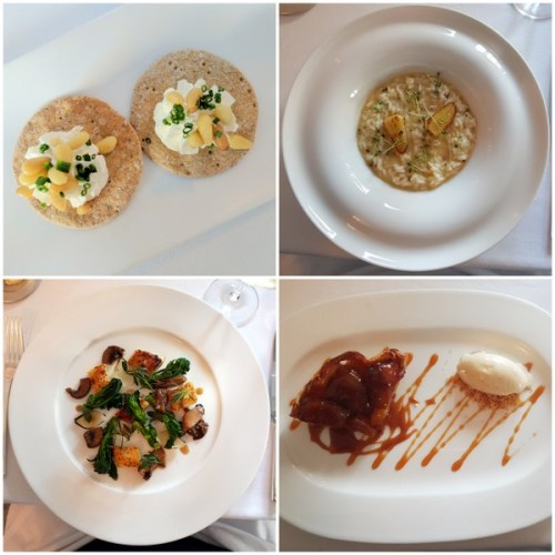 Clockwise from top left: whipped cream cheese amuse bouches, truffle risotto, tarte tatin and thyme gnocchi.