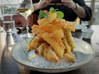 The tower of tempura: asparagus tempura was a bit of a relevation.