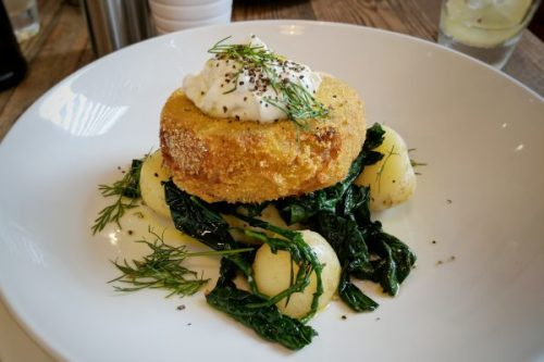 'Crab' cake with potatoes, kale and dill. Mmm.