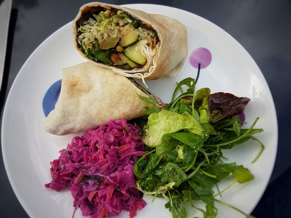 Roast courgette wrap with quinoa and other goodies. The red cabbage was good too!