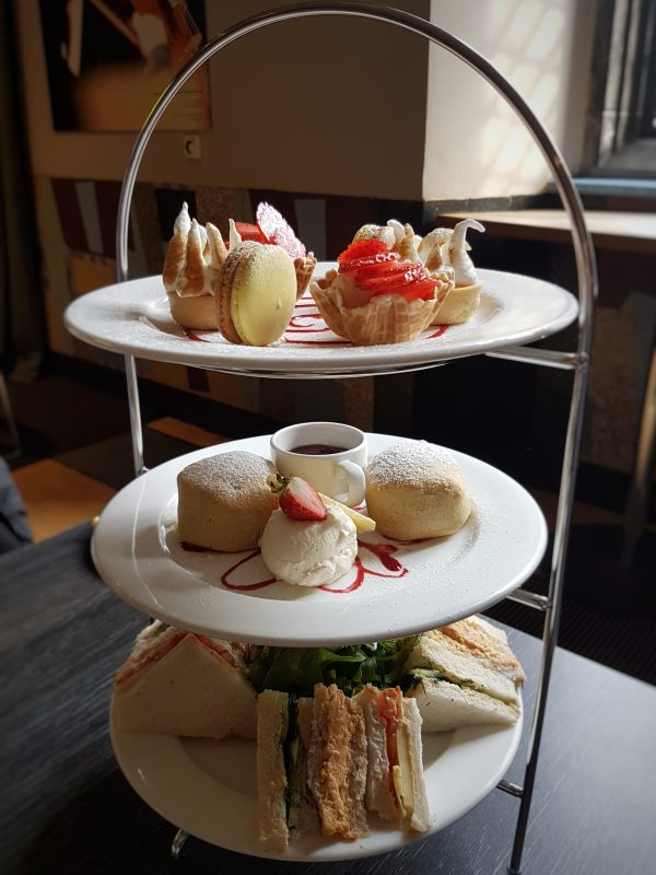A tower of tempting treat. Welcome to the afternoon tea.