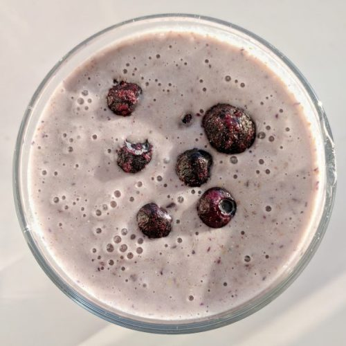 The way it's meant to be consumed: water, powder, blueberries.