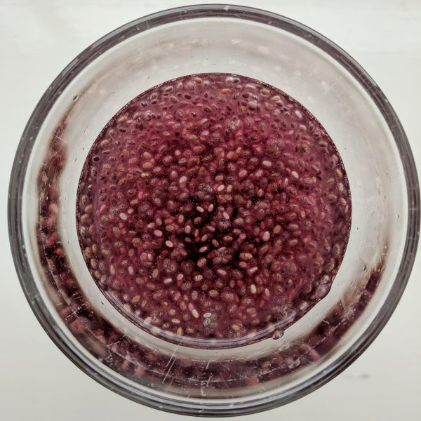 Beetroot-blueberry kombucha and chia seed.