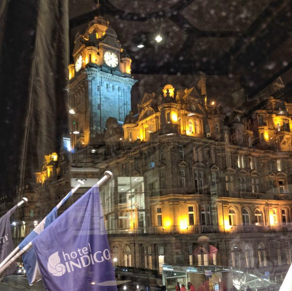 From one hotel to another: the Balmoral looking good at night.