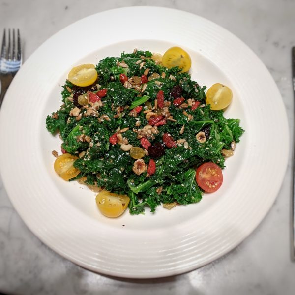 This is a super-sized serving of a super-food kale salad.