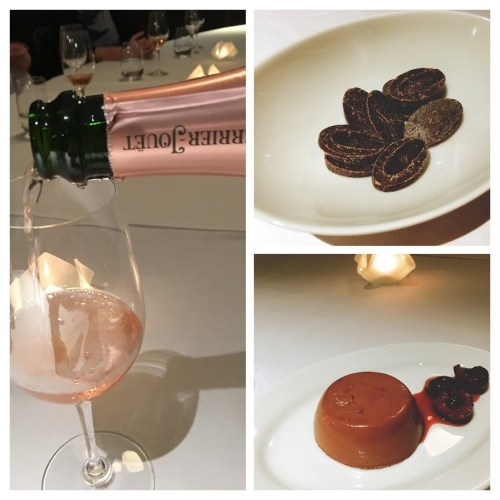 A rich, Valrhona dark chocolate panna cotta served with warmed cherries and the most sublime Perrier Jouet Blasson Rose Champagne