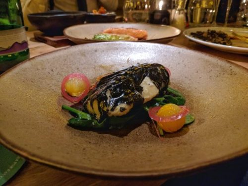 Cod and squid ink. Beautiful on the plate, beautiful on the palate.