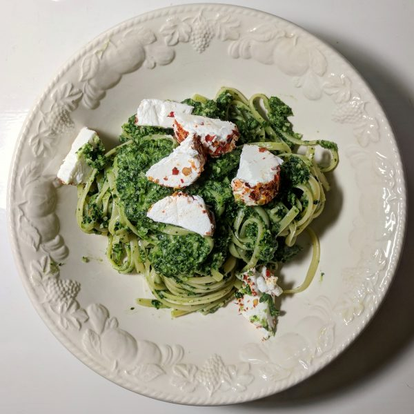 Linguine with kale pesto and chilli encrusted goats cheese.