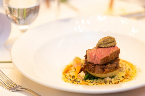 Textures of lamb stack with hazelnuts and capers