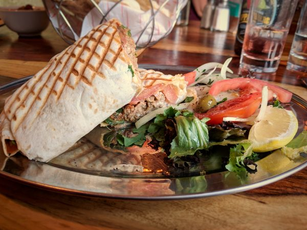 Moroccan meatballs and whipped feta wrap. I'm getting hungry just looking at this.